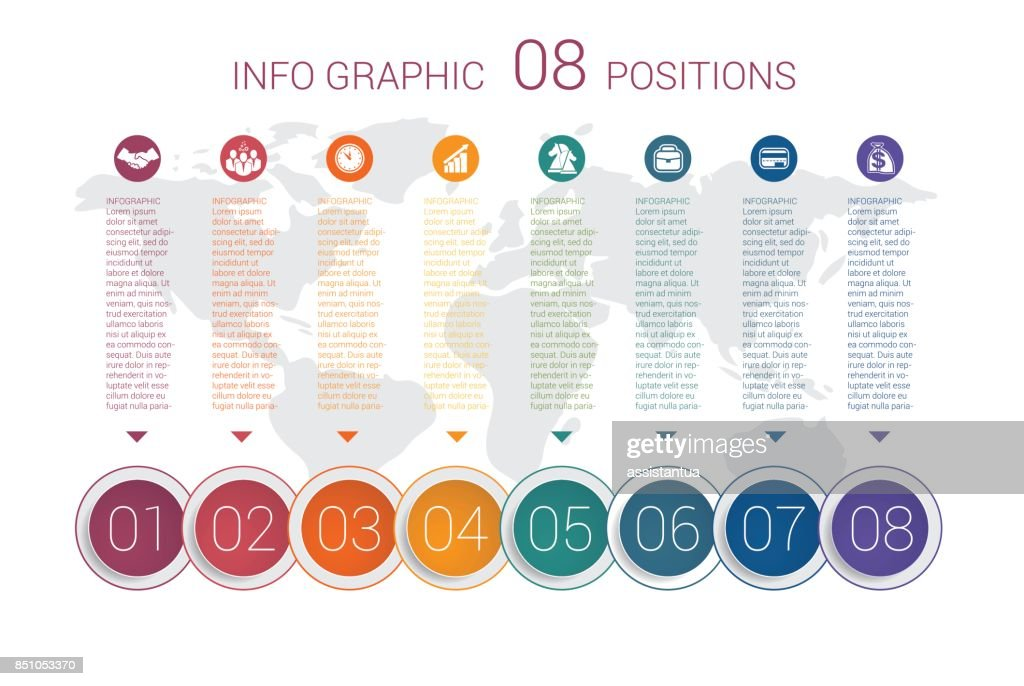 Modern minimal colorful diagram info graphics. Vector template 8 positions against the background of the world map.
