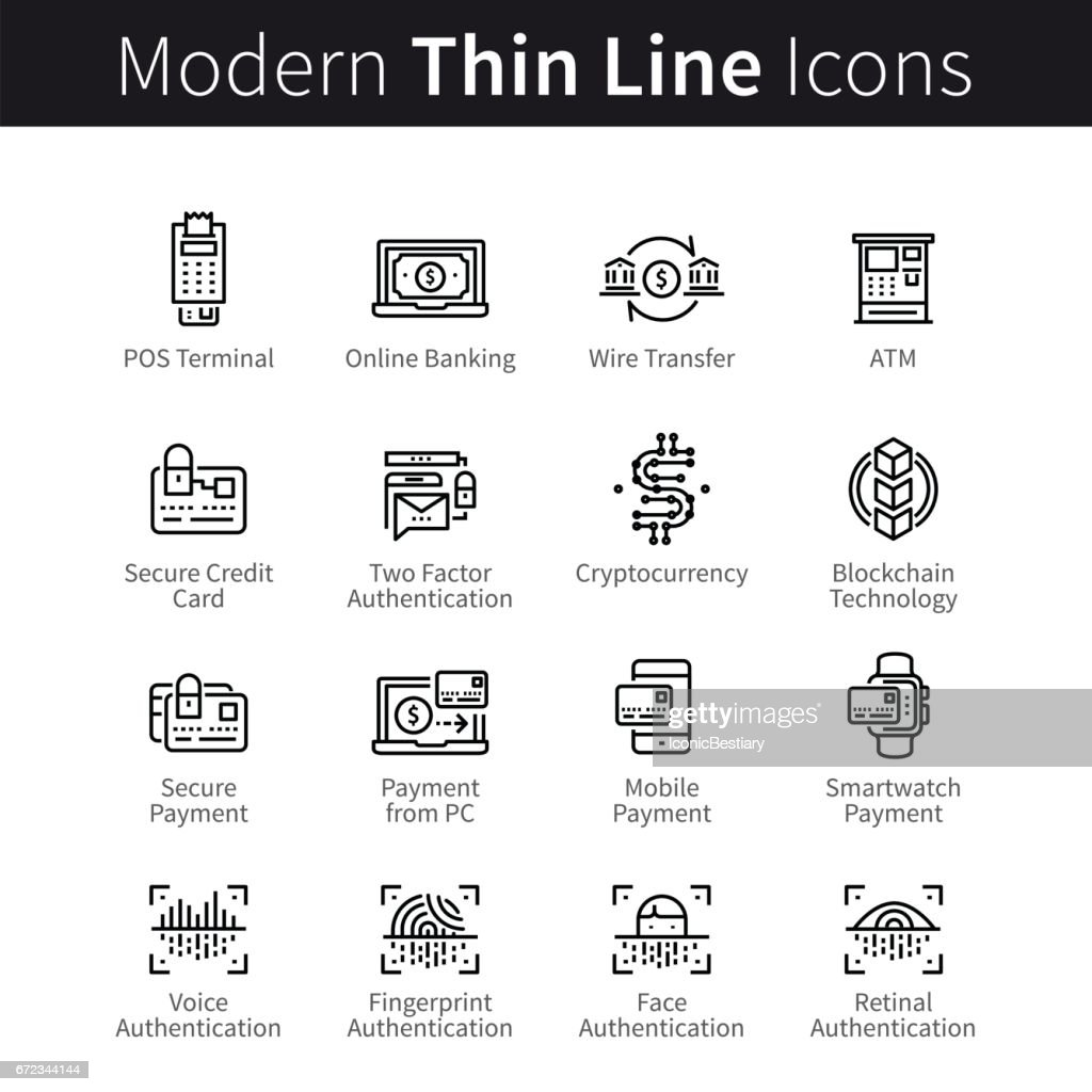 Modern mobile and desktop security icons
