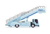 Modern Mobile Passenger Step Airport Ground Support Vehicle Equipment Illustration