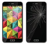 Modern mobile phone with broken glass screen