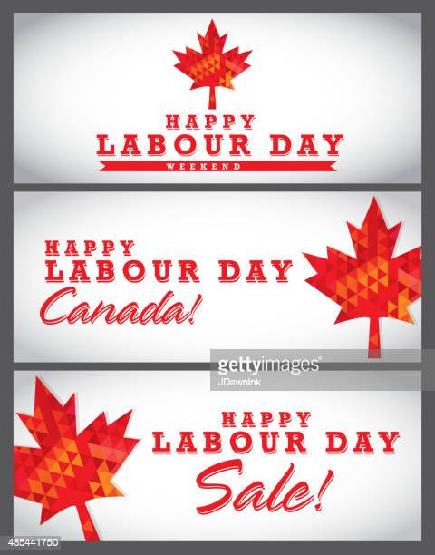 modern mosaic happy canada labour day banner set - labour day stock illustrations
