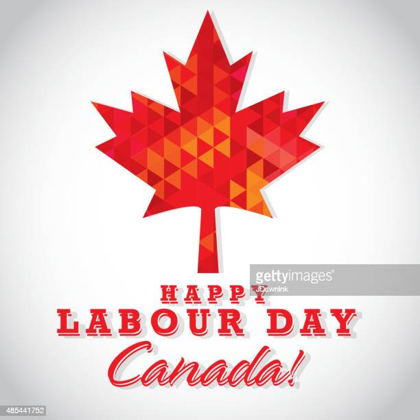 modern mosaic happy canada labour day greeting template design - canadian flag stock illustrations, clip art, cartoons, & icons