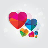 modern multicolored polygonal style folded paper heart shapes