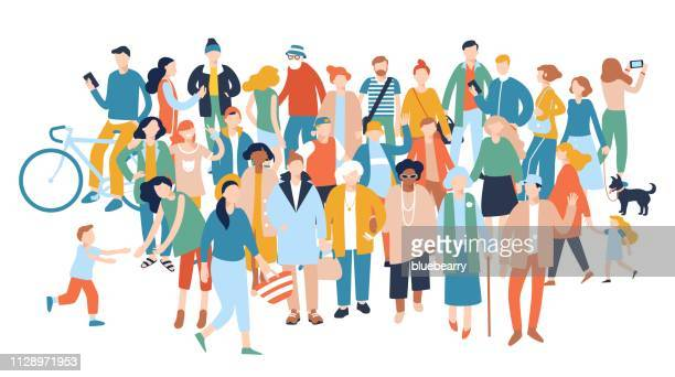 Modern multicultural society concept with crowd of people