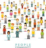 Modern multicultural society concept with people in flat style