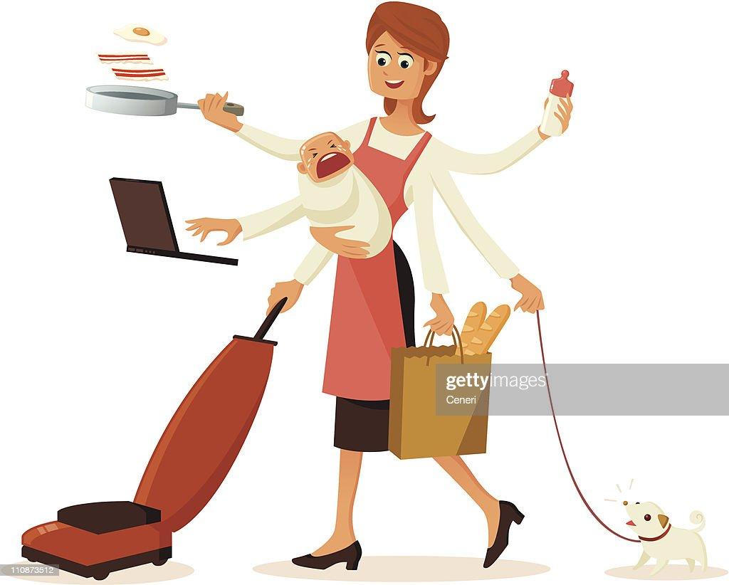 Modern multi-tasking housewife with multiple hands