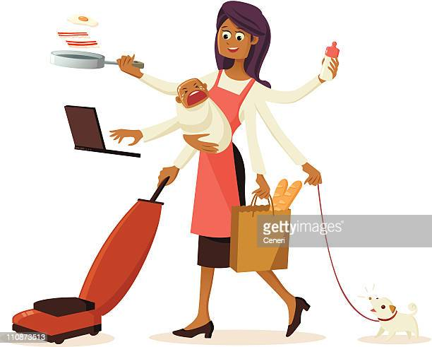 modern multi-tasking housewife with multiple hands - nanny stock illustrations
