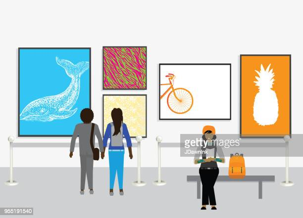 Modern museum with artwork on walls and diverse people