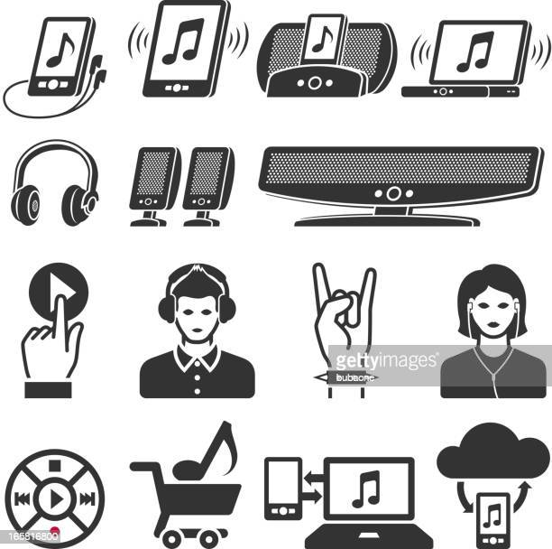 modern music industry black and white vector icon set - colors soundtrack stock illustrations