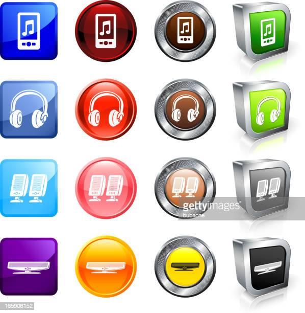 Modern Music Technology royalty free vector button set