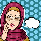 Modern muslim woman in hijab shocked face with thought bubble