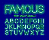 Modern neon light font