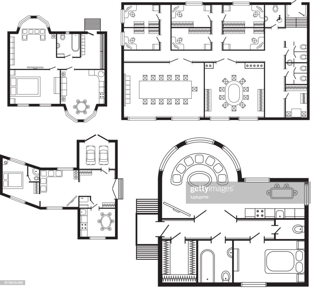 Modern office architectural plan interior furniture and construction design drawing project