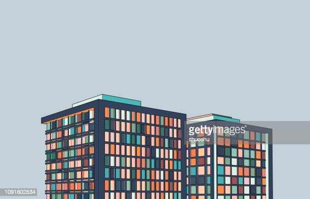illustrazioni stock, clip art, cartoni animati e icone di tendenza di modern office building 3d structure illustration - appartamento