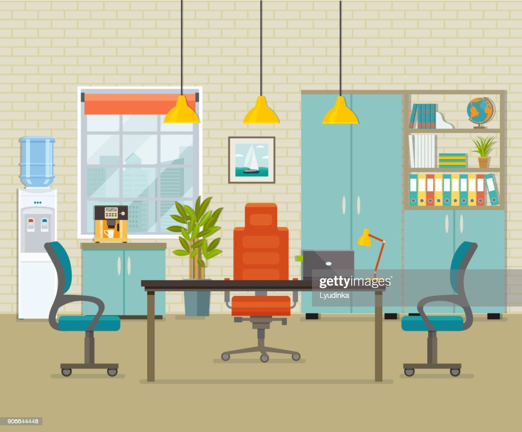 Modern office interior. Vector flat illustration