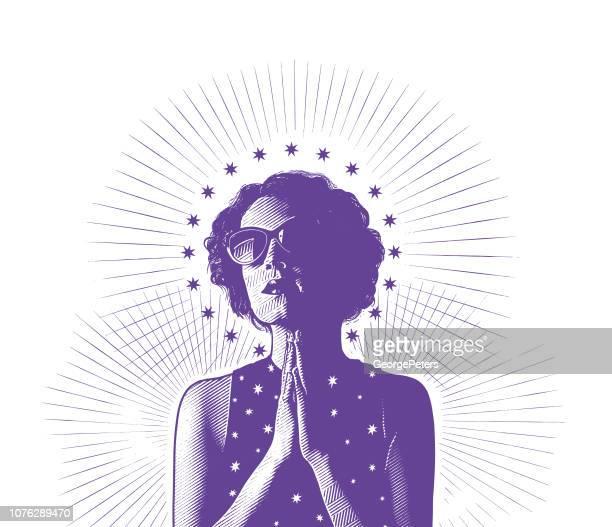 ilustraciones, imágenes clip art, dibujos animados e iconos de stock de moderna de la virgen de guadalupe - gracias por su atencion