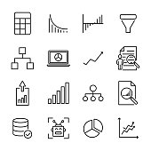 Modern outline style data analytics icons collection.