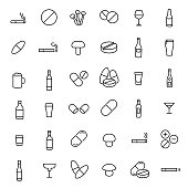 Modern outline style drug icons collection.