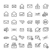 Modern outline style email icons collection