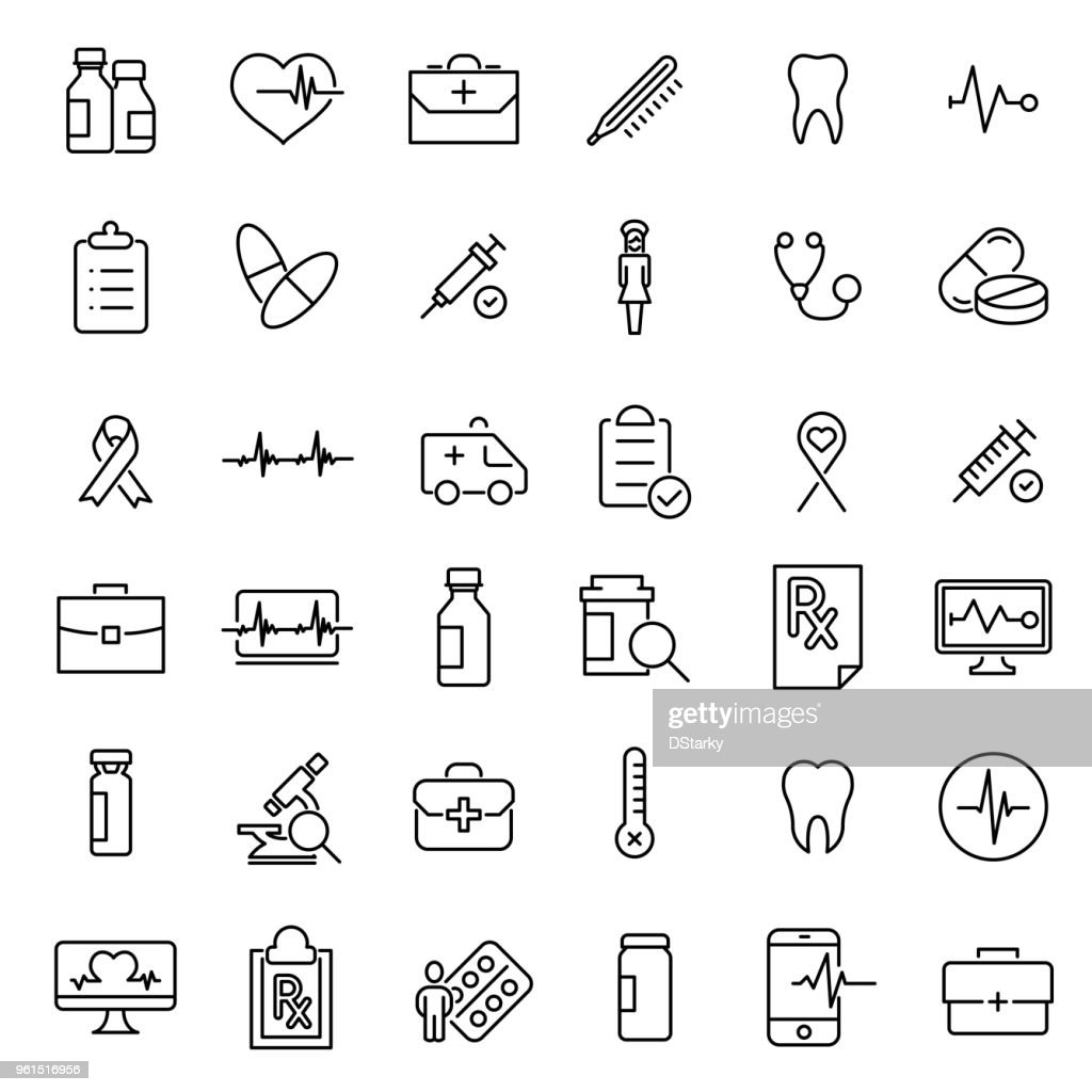 Modern outline style medical care icons collection.