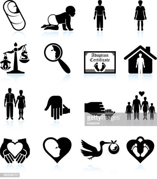 ilustrações, clipart, desenhos animados e ícones de moderno parenting adoção & preto e branco, vector conjunto de ícones - engatinhando