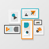 Modern Picture Frame Set Hanging on Wall. Vector
