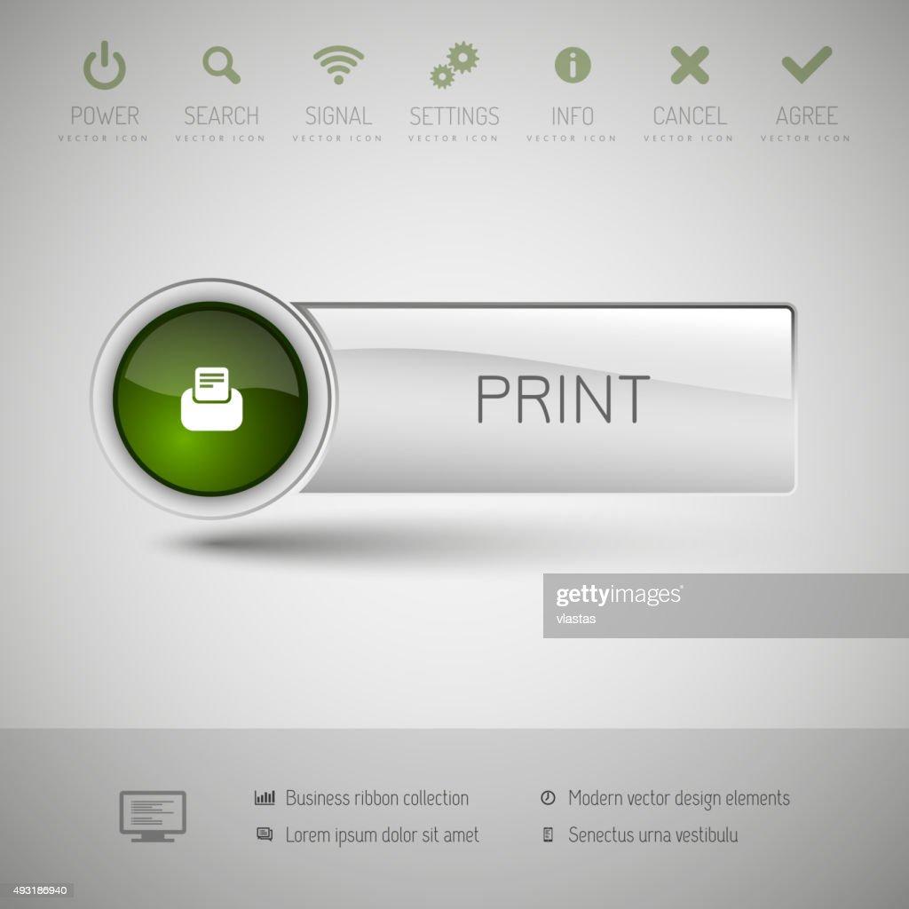 Modern plastic vector button.