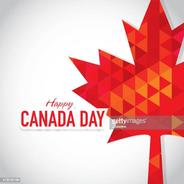 modern polygonal happy canada day celebration greeting card design template - canada day stock illustrations