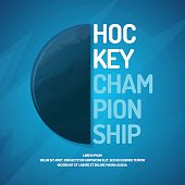 Modern poster ice hockey championship with the puck on the ice
