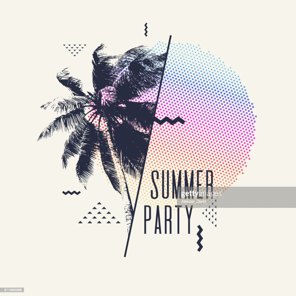 Modern poster with palm tree and geometric graphic