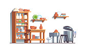 Modern pottery workshop with electric kiln, pottery wheel, shelves with clay and crockery: pots, vases, bowls. Potter workplace interior. Flat style isolated vector