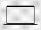 Modern premium laptop vector mockup on transparent background