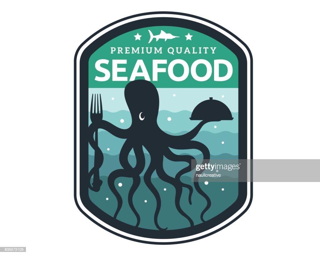 Modern Premium Seafood Restaurant Badge Illustration