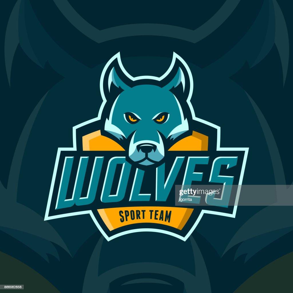 modern professional wolves team sport emblem