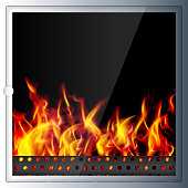 Modern realistic Hi-tech fireplace made of modern materials with a burning flame inside. Realistic flames and sparks.3D effect. Vector illustration.