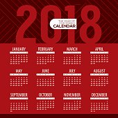 2018 Modern Red Graphic Printable Calendar Starts Sunday Vector Illustration