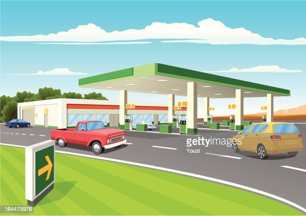 modern refueling station - fuel station stock illustrations, clip art, cartoons, & icons