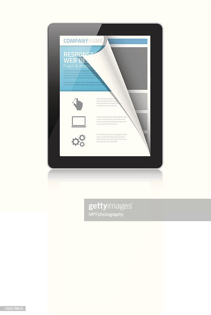 Modern responsive web design coding concept in tablet vector