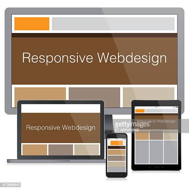 moderne reaktionsschnelle web design-konzept - responsives webdesign stock-grafiken, -clipart, -cartoons und -symbole