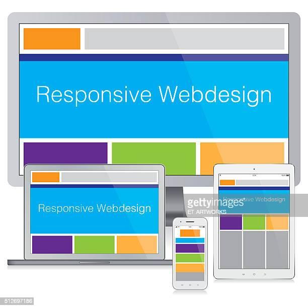 ilustrações, clipart, desenhos animados e ícones de conceito moderno responsivo web projeto - composição
