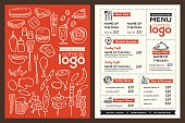 Modern Restaurant menu cover design pamphlet vector template