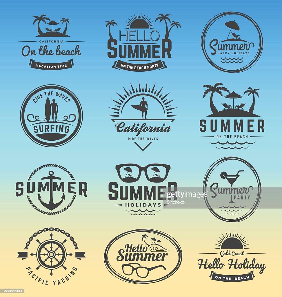 Modern retro insignia for summer holidays