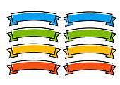 Modern ribbon banners vector set. Ribbon color flat style