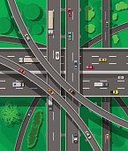 Modern roads and transport. Top view.