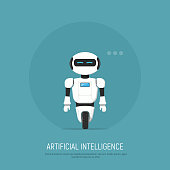Modern Robot in flat style. Concept artificial Intelligence.