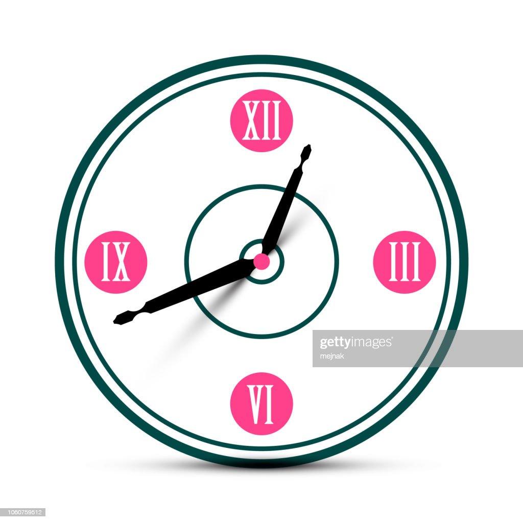 Modern Roman Numeral Analog Clock Symbol