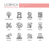 Modern school and education thin line design icons, pictograms