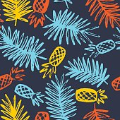 Modern seamless pattern with pineapples and palm leaves
