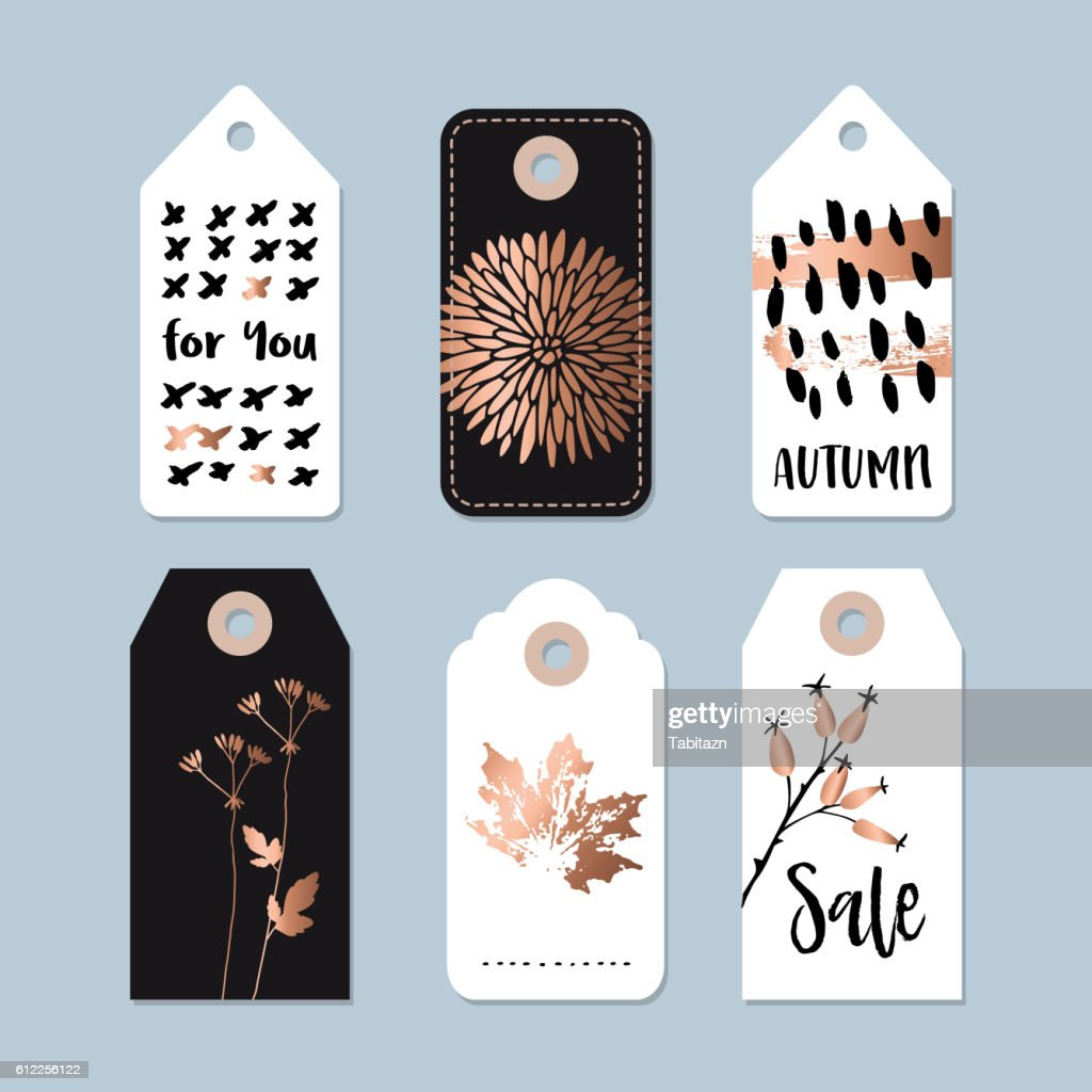Modern set of autumn, fall sale, quality labels, gift tags.