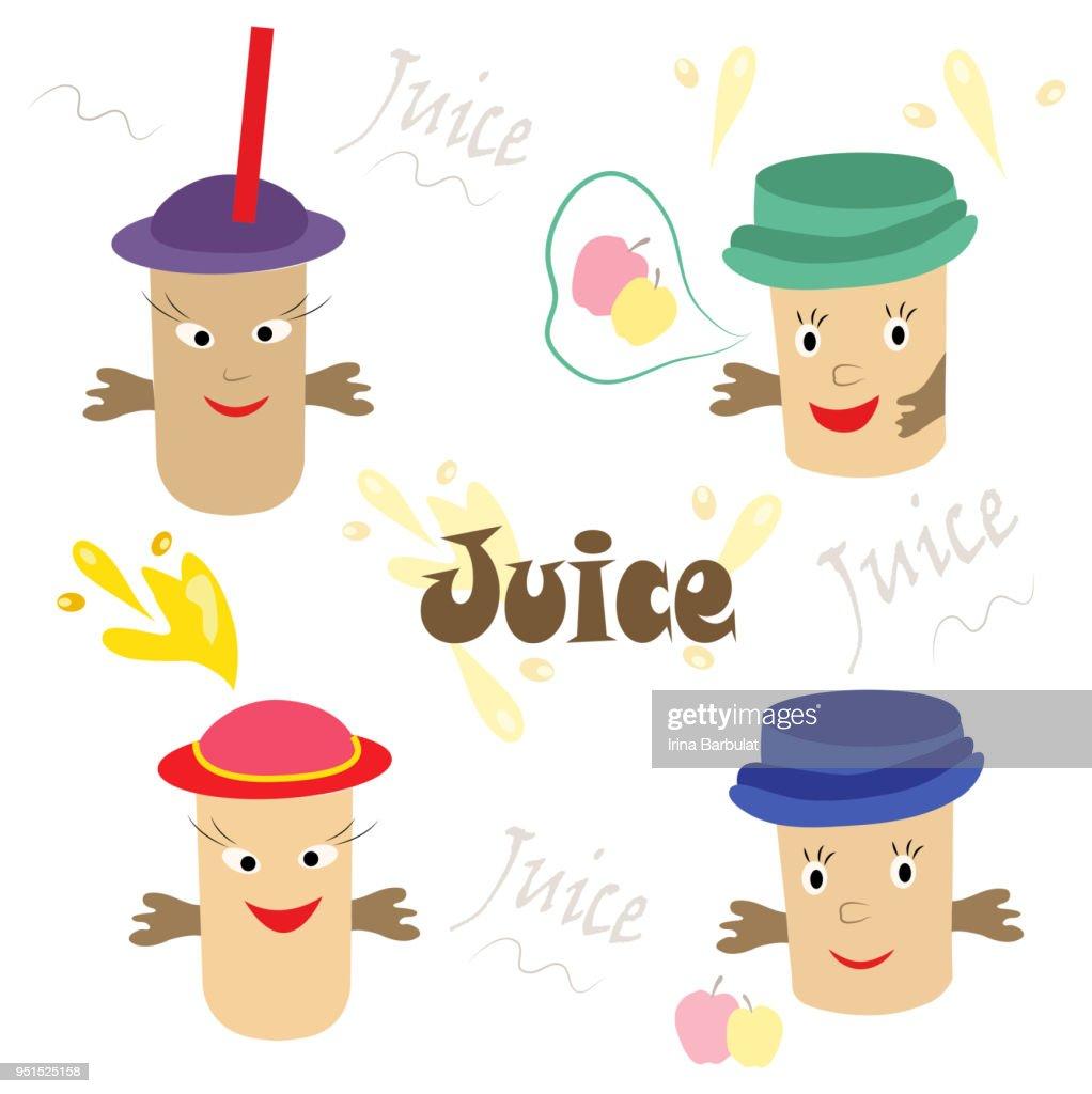 modern set of fruit drinks, tasty, healthy juice
